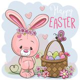Cartoon Bunny with a basket of Easter eggs. Cute Cartoon pink Bunny with a basket of Easter eggs vector illustration