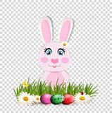 Cute cartoon pink bunny among  dyed eggs on green grass. Cute cartoon pink bunny or rabbit sitting among bright dyed eggs on green grass and chimomile flowers Royalty Free Stock Photo