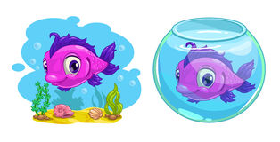 Cute cartoon pink fish. In the tank and in the sea,  illustration Stock Image
