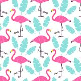 Cute cartoon pink flamingos and green tropical leaves isolated on white background. Vector seamless pattern can be used for poster. Cute cartoon pink flamingos Royalty Free Stock Images