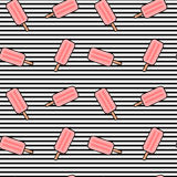 Cute cartoon pink ice cream on black and white stripes seamless pattern background illustration Royalty Free Stock Photos