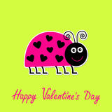 Cute cartoon pink lady bug with dots in shape of h Stock Photo