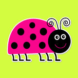 Cute cartoon pink lady bug. Isolated. Royalty Free Stock Photography