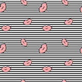 Cute cartoon pink lips on black and white stripes seamless pattern background illustration Royalty Free Stock Images