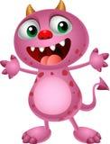 Cute cartoon pink monster waving hand Stock Photography