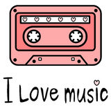 Cute cartoon pink music tape with I love music quote illustration. Cute cartoon pink music tape with I love music quote vector illustration Stock Image