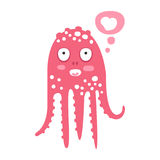 Cute cartoon pink octopus character dreaming, funny ocean coral reef animal vector Illustration Stock Photo