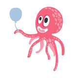 Cute cartoon pink octopus character holding air balloon, funny ocean coral reef animal vector Illustration Stock Images