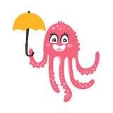Cute cartoon pink octopus character holding umbrella, funny ocean coral reef animal vector Illustration Stock Photos