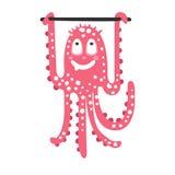 Cute cartoon pink octopus character training on a horizontal bar, funny ocean coral reef animal vector Illustration Stock Photos