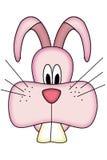 Cute cartoon pink rabbit head. Cute pink Easter bunny's head cartoon isolated on white vector illustration