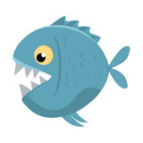 Cute cartoon piranha with sharp teeth Stock Photography