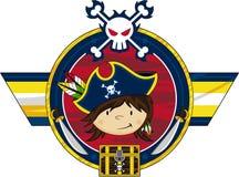 Cute Cartoon Pirate Badge Stock Photo