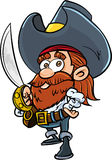 Cute cartoon pirate with a cutlass. Isolated on white Royalty Free Stock Photos