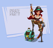 Cute cartoon pirate girl. Vector illustration. Royalty Free Stock Photo