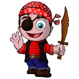Cute cartoon pirate. On isolated white background vector illustration
