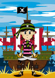 Cute Cartoon Pirate Scene Royalty Free Stock Images
