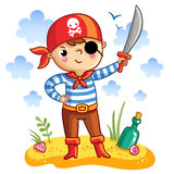Cute cartoon pirate. Stock Image