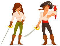 Cute cartoon pirates with sabres and parrot. Cartoon pirate and piratess with sabres and parrot Stock Image