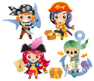 Cute cartoon pirates Set 2 Royalty Free Stock Photos