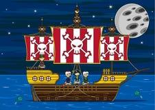 Cute Cartoon Pirates and Ship Scene Stock Photo