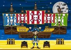 Cute Cartoon Pirates and Ship Scene Stock Image