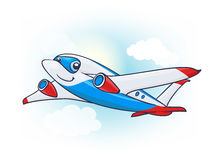Cute Cartoon Plane Character in the Sky vector illustration