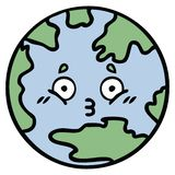 Cute cartoon of a planet earth. A creative cute cartoon planet earth stock illustration