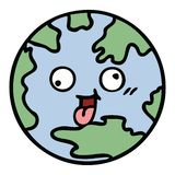 Cute cartoon of a planet earth. Illustrated cute cartoon of a planet earth royalty free illustration