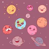Cute cartoon planets with faces. Vector illustration Royalty Free Stock Photo