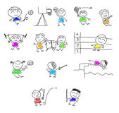 Cute cartoon play  sport. Stock Photo
