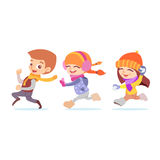 Cute cartoon playing kids running in winter. Royalty Free Stock Images