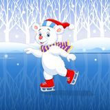Cute cartoon polar bear ice skating with winter background Royalty Free Stock Images