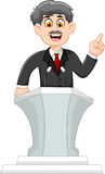 Cute cartoon politician speaking behind the podium Stock Photos