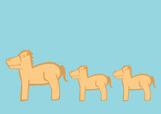 Cute Cartoon Ponies Vector Illustration. Stylized vector illustration of ponies and small horses in profile view queueing in line one after another on turquoise royalty free illustration