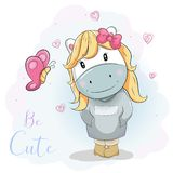 Cute cartoon pony in blue jumper royalty free illustration