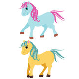 Cute cartoon pony, little horses isolated on white background, vector illustration Royalty Free Stock Photos