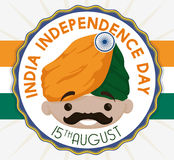Cute Cartoon Poster for India Independence Day, Vector Illustration Stock Photography