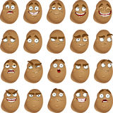Cute cartoon potatoes smile with many expressions stock images