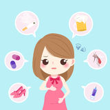 Cute cartoon pregnant. With health concept on the blue background Stock Photo