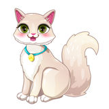Cute cartoon pretty white girl cat. Vector illustration Stock Image