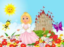 Cute cartoon princess in the floral garden vector illustration