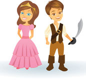 Cute cartoon princess and pirate kids Stock Photos