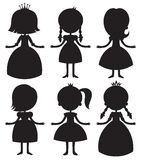 Cute cartoon princess silhouettes set. Royalty Free Stock Photos