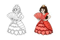 Cute Cartoon Princess Standing in Pink Coral Dress Costume Isolated stock illustration