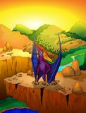 Cute cartoon pteranodon with landscape background. Vector illustration of a cartoon dinosaur Stock Images