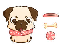 Cute cartoon pug puppy. Vector illustration  on white Royalty Free Stock Photo
