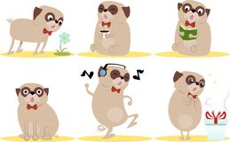 Cute cartoon pugs Royalty Free Stock Image
