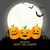 Cute cartoon pumpkin character in the moonlight. Trick or Treat concept, Happy Halloween day. Funny illustration Royalty Free Stock Photos