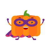 Cute cartoon pumpkin superhero in mask and purple cape, colorful humanized vegetable character  Illustration Royalty Free Stock Photos